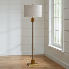 Avenue Brass Floor Lamp at Crate and Barrel Canada. Discover unique furniture and decor from across the globe to create a look you love. Diy Floor Lamp, Tall Floor Lamps, Bronze Floor Lamp, Tall Lamps, Brass Lamp, Modern Floor Lamps, Modern Lighting, Lighting Ideas, Crate And Barrel