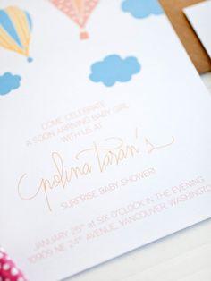 Hot Air Balloon Baby Shower Invitations via Oh So Beautiful Paper: http://ohsobeautifulpaper.com/2014/02/hot-air-balloon-baby-shower-invitations/ | Design + Photo: Anastasia Marie Cards & Stationery #baby