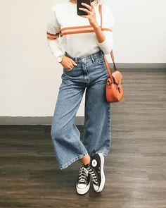Casual Sporty Outfits, Basic Outfits, Jean Outfits, Summer Outfits, Casual Jeans, Denim Culottes Outfits, Sporty Chic, Look Fashion, Fashion Outfits