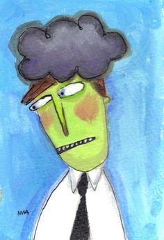 Brain Cloud  original quirky outsider art by MurphyAdamsStudio, $75.00