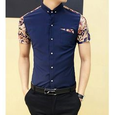 Fashion Style Turn-down Collar Floral Print Color Block Short Sleeves Cotton Shirt For Men, PURPLISH BLUE, M in Shirts | DressLily.com