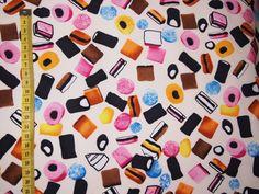 Cream Liquorice Allsorts 100 Cotton Fabric by NoodlesAndThread, £9.99