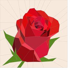 "Red rose bud block 16.5"" | Craftsy"
