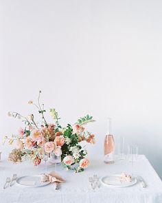 Minimalist wedding inspiration in tones of blush, ivory, and grey Wedding Table Settings, Wedding Table Centerpieces, Wedding Reception Decorations, Wedding Venues, Destination Wedding, Wedding Set Up, Wedding Blog, Floral Wedding, Wedding Flowers