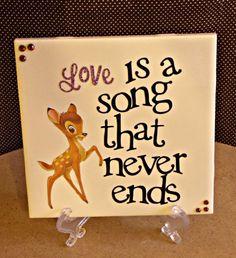 Bambi/Love NurseyWall Hanging. $9.00, via Etsy. Bambi Nursery, Girl Nursery, Nursery Ideas, Girl Room, Baby Room, Room Ideas, Disney Home, Baby Disney, Bambi Baby