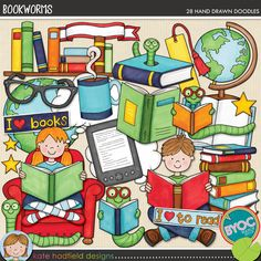 Bookworms - learning to read themed digital scrapbook elements / cute reading kids clip art! Hand-drawn doodles for digital scrapbooking, crafting and teaching resources from Kate Hadfield Designs. Paper Bag Scrapbook, Scrapbook Supplies, Scrapbooking Layouts, Digital Scrapbooking, Craft Supplies, How To Make A Paper Bag, Design Page, Chalk Drawings, Easy Drawings