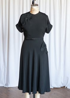 Evening Silhouette dress | vintage 50s dress | 1950s little black dress | black rayon vintage dress