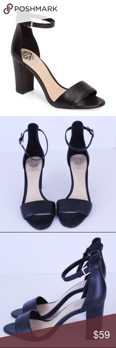 Vince Camuto Corlina Ankle Strap Sandal Size 8 Vince Camuto Black Leather Corlina block heel ankle strap sandal Size 8. Excellent used condition with very minimal signs of wear. No modeling and no trades. Feel free to ask any questions. Vince Camuto Shoes Heels