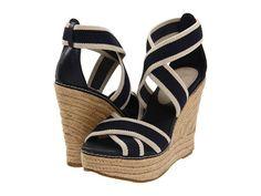 MIA 'Renegade' navy/cream wedge sandals
