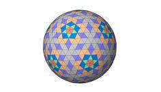 7 frequency geodesic dome. 6 unique isosceles panels. 6 strut lengths.  Designer - Robert Clark.