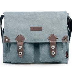 Douguyan Casual Canvas Messenger Bag Vintage Crossbody Bag Traveling Satchel Bag Grey 43608