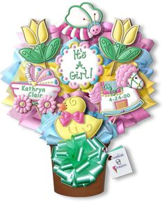 Decorated Cookies Gift | Our new baby girl bouquet customized with whimsy elements to welcome ...