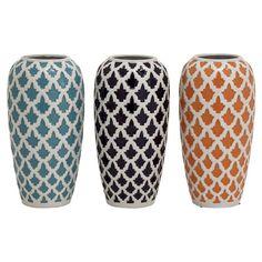 DecMode 3 Piece Geometric Floret Ceramic Vase Polished White / Assorted - 92056