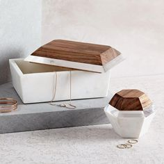 These Roar + Rabbit Decorative Boxes from West Elm are so gorgeous I had to share them as today's Decorative Accessories, Home Accessories, Decorative Boxes, Jewellery Boxes, Jewellery Storage, Jewelry Displays, Jewelry Box, Marble Box, Three Drawer Dresser