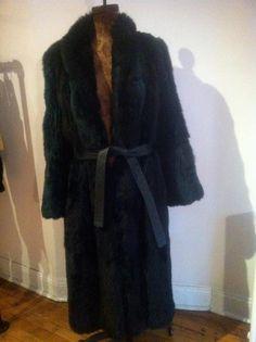 Genuine #vintage green fox blend coat. Floor length fur w/ leather belt & collar. Price is $450.