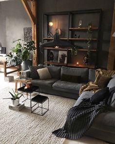 Dark Living Rooms, Home Living Room, Living Room Designs, Living Room Decor, Living Spaces, Bedroom Decor, Manly Living Room, Cozy Living, Gothic Living Rooms