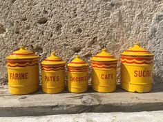 Yellow & Red Enamel Graduated Kitchen Canister Set, Extra-Dur St-Servais Belgium