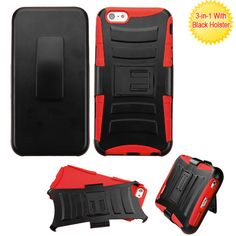 MYBAT Advanced Armor Holster iPhone 6 Plus Case - Black/Red
