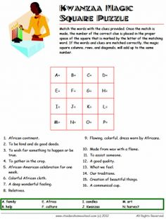 Free Kwanzaa Vocabulary Worksheets for Grades 1 - 3 | Kwanzaa ...