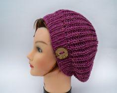 Knit Button Hat  Tweed Slouchy Tam  Wool Blend by BettyMarieJones, $32.00