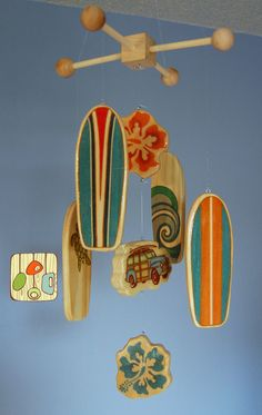 Surfboard Baby Mobile - Orange - Woody Surf Boards and Car - Surf or Beach Baby Nursery.