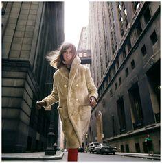 Jean Shrimpton, Wall Street, Borgana, 1964. For Douglas Simon. Photograph by William Helburn