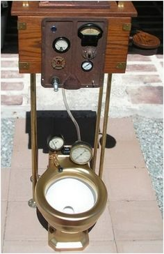 Steampunk Toilet - I'm afraid to know what the gauges measure.