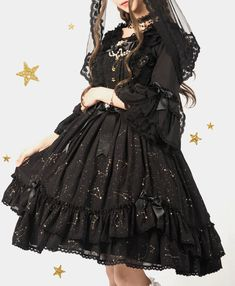 Shimotsuki Sakuya -The Whisper of Stars- Lolita Normal Waist JSK - Round 4 Preorder Kawaii Fashion, Lolita Fashion, Pop Fashion, Fashion Outfits, Fasion, Pretty Dresses, Beautiful Dresses, Real Costumes, Tiered Skirts