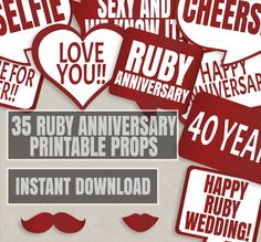 35 Ruby Anniversary Props, 40th Anniversary props, Wedding Printable props…
