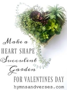 Make this faux succulent heart shape garden for Valentine's Day. Or, purchase a heart shape succulent from online sources I share! Valentine's Day Flower Arrangements, Succulent Arrangements, Fake Plants, Little Plants, Faux Succulents, Succulents Garden, Garden Bench Plans, Succulent Wreath, Floral Foam