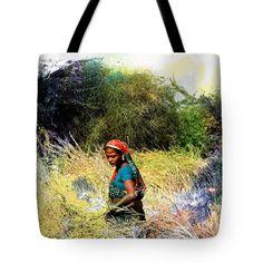 "Farmers Fields Harvest India Rajasthan 2c Tote Bag 18"" x 18"""