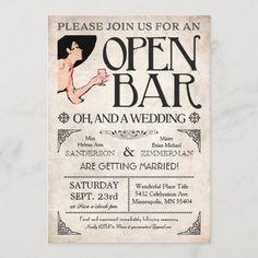 Funny Wedding Invitations, Vintage Wedding Invitations, Wedding Invitation Design, Invitation Wording, Vintage Weddings, Wedding Stationary, Invite, Open Bar Wedding, Wedding Stage