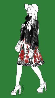 Selbst ein romantisches Flower-Power-Outfit wird modern, wenn Sie im Stilbruch dazu eine Biker-Jacke tragen.