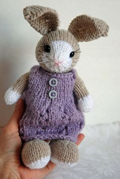 Little Knitted Bunny Rabbit with Woolen Dress