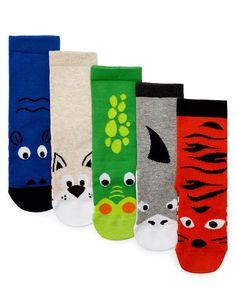 5 Pairs of Freshfeet™ Cotton Rich Socks with Silver Technology Years) Comfy Socks, Cute Socks, Animal Print Socks, Socks World, Boys Socks, Baby Boy, Pairs, Technology, Fabric