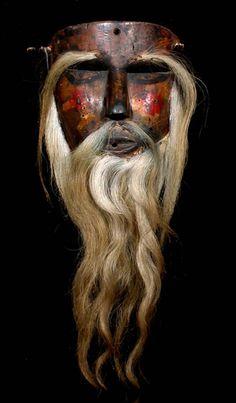cavinmorrisgallery: Mexican Dance Mask Rastrero, Tlacololero Dance, Guerrero, 20th c. Polychromed wood, hair 8 x 7 x 3 in (20.3 x 17.8 x 7.6 cm) MX 206
