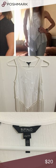 Buffalo brand fringe embroidered top Worn once, white fringe embroidered top Buffalo Tops