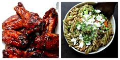 Bakeaholic Mama: Oven Baked Sriracha and Beer BBQ Chicken Wings and Pasta Salad for Tom