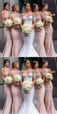 mermaid halter pearl pink bridesmaid dresses with appliques, modest formal wedding party gowns, 2018 bridesmaid dresses
