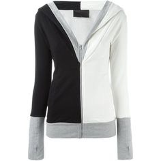 Norma Kamali Colour Block Zipped Hoodie ($159) ❤ liked on Polyvore featuring tops, hoodies, black, black zip hoodie, black hooded sweatshirt, colorblock hoodie, zip top and black top