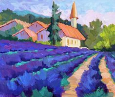 Lavender Field In St. Columne Painting