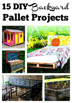 These 15 DIY backyard pallet projects are amazing. You can make so many different cool things for the backyard with salvaged pallets. Together these projects would make an awesome upcycled backyard! DIY Projects | Backyard Decor