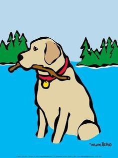 Art Print: Retriever in Lake by Marc Tetro : Lake Art, Dog Rooms, Canadian Artists, Golden Retrievers, Dog Art, Labrador Retriever, Labrador Dogs, Retriever Puppies, Graffiti