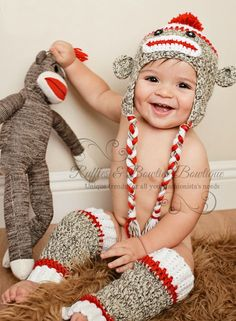 Sock Monkey Hat - Red