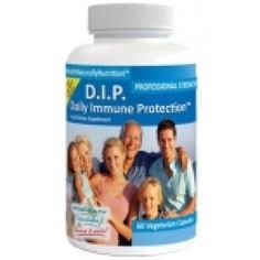 "D.I.P. Daily Immune Protection 90 capsules. While many other immune health products ""boost"" or stimulate the immune system, D.I.P. aims to ""balance"" the immune response for optimal immune system health. Research shows that the D.I.P. formula seems to support the function of both the innate and adaptive immune systems. Seems to Promote Proper Immune Response when the body is being  attacked, as in the case with allergies*."
