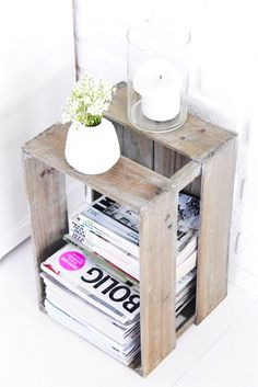 wooden crate re-purposed magazine storage Cheap Home Decor, Diy Home Decor, Room Decor, Magazine Storage, Magazine Rack, Magazine Stand, Magazine Organization, Magazine Table, Magazine Plus