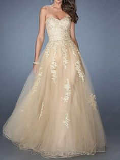 A-line Sweetheart Tulle Floor-length Appliques Prom Dresses -GBP£89.99