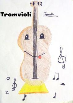 """InstruCmentos: """"Tromviolí"""", es un violín trompa que su sonido sale por la campana de abajo.  Pablo 4º C. Aula de Música Voramar, Alacant"""