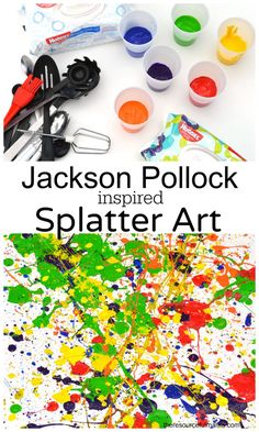 art for kids Jackson Pollock inspired splatter art project. Kids of all ages will enjoy this fun process art project. Its a great outdoor summertime art project for kids. Preschool Art Projects, Art Activities For Kids, Preschool Artist Theme, Art History Projects For Kids, Process Art Preschool, Painting Activities, Kid Projects, Kids Crafts, Action Painting