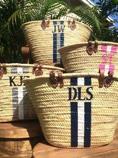 Monogrammed straw bag, personalized beach bag, custom initialed ...